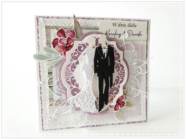 Kartka ręcznie robiona na ślub 88