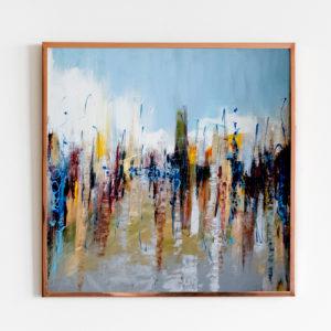 """Obraz olejny """"Miasto w deszczu"""""""