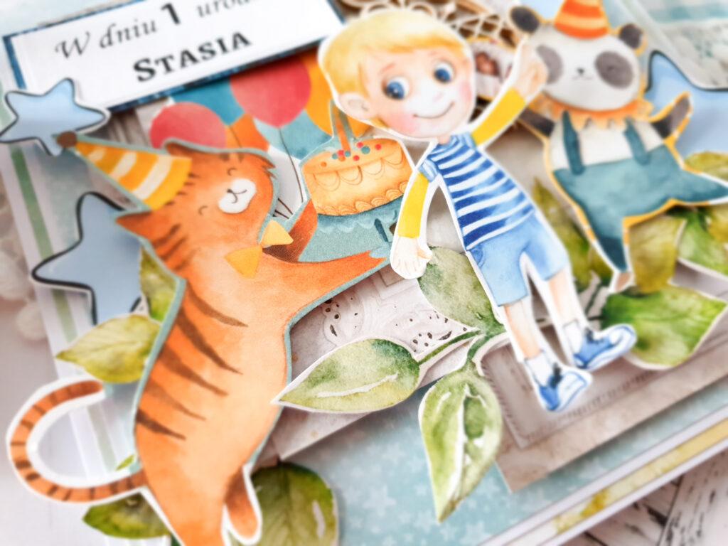 Karteczka ręcznie robiona na roczek dla chłopczyka