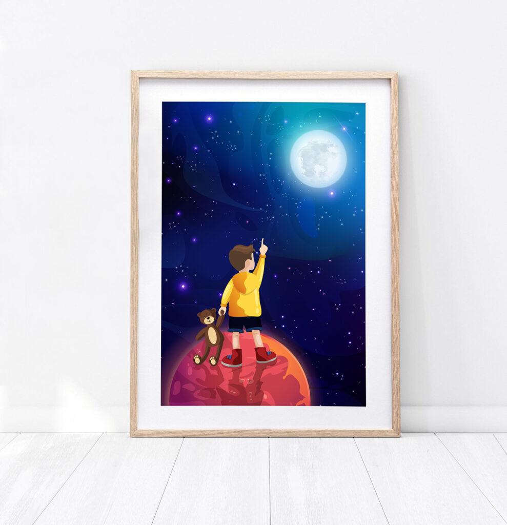 Plakat chłopiec w kosmosie