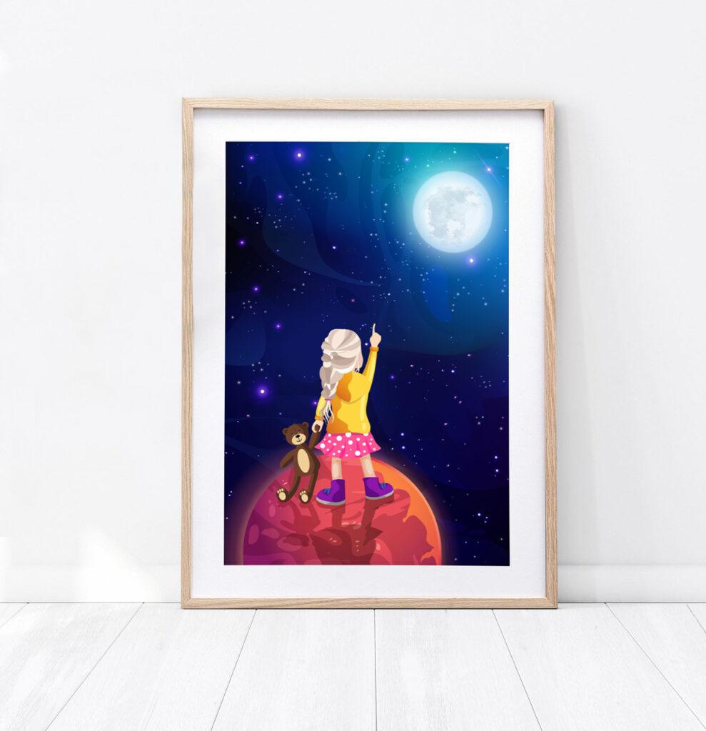 Plakat dziewczynka w kosmosie