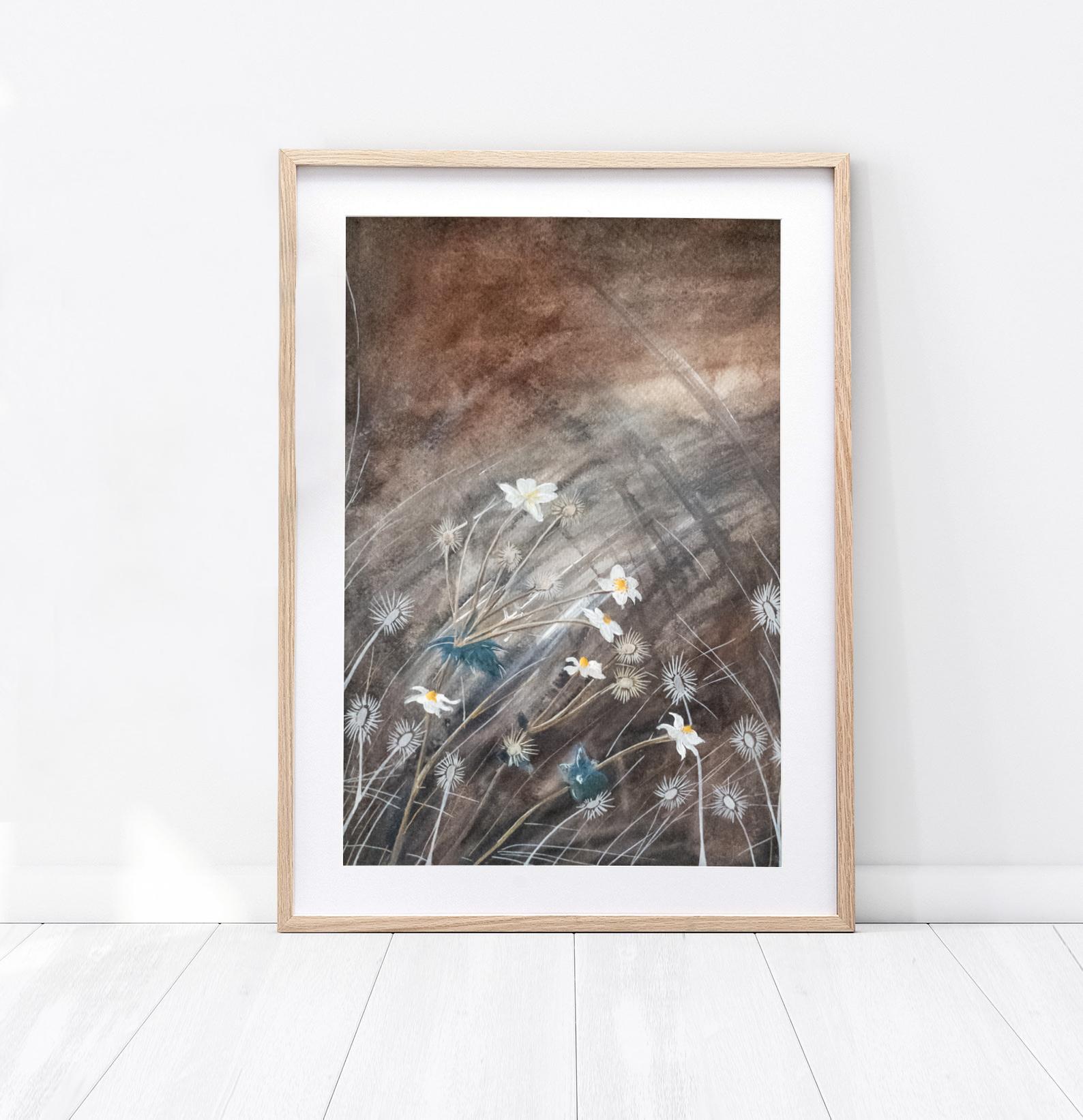 """Obraz """"Jesienna łąka"""" wykonany farbami wodnymi"""