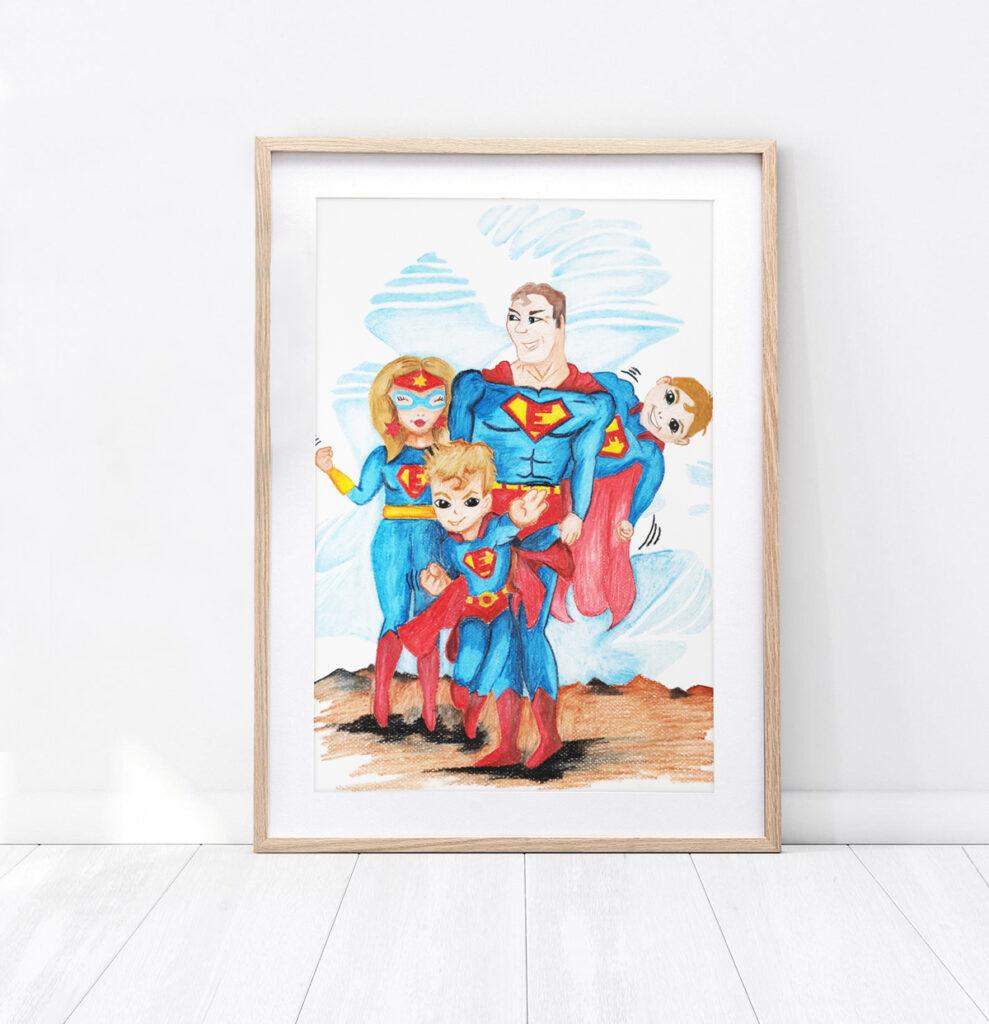 Obrazek Super rodzinka - technika kredki