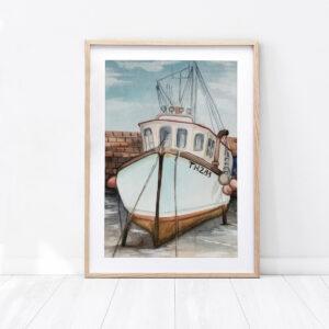 """Ilustracja """"Marynarz"""" wykonana farbami wodnymi"""