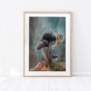 """Obraz """"Ślimak"""" wykonany farbami wodnymi"""