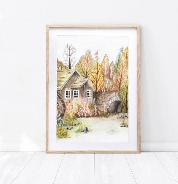 Ilustracja jesienny krajobraz wykonany farbami wodnymi