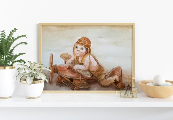 """Plakat """"Lotnik"""" do pokoju dziecięcego"""