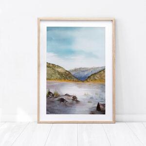 Obraz wykonany farbami wodnymi krajobraz górski