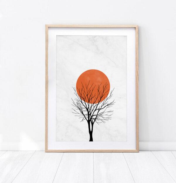 Plakat pomarańczowy księżyc